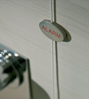 Piastrina allarme della doccia in acciaio lucido