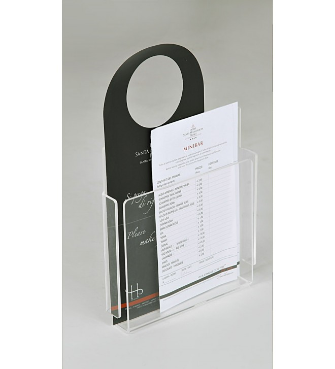 Porta brochure in plexiglass