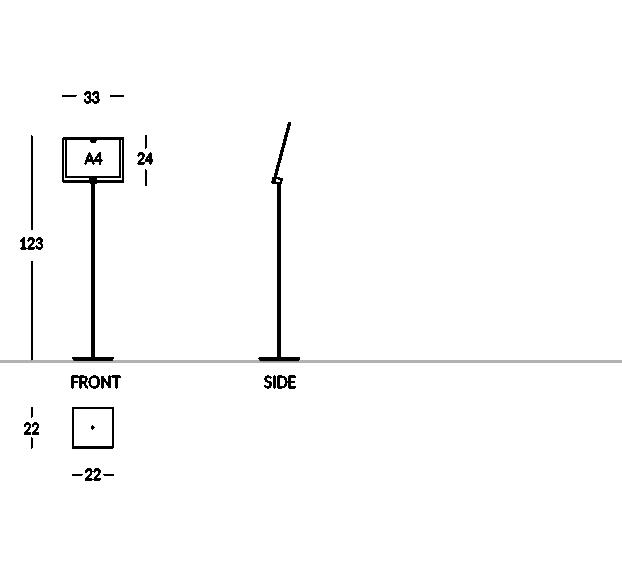 Piantana porta depliant con tasca formato A4 orizzontale.