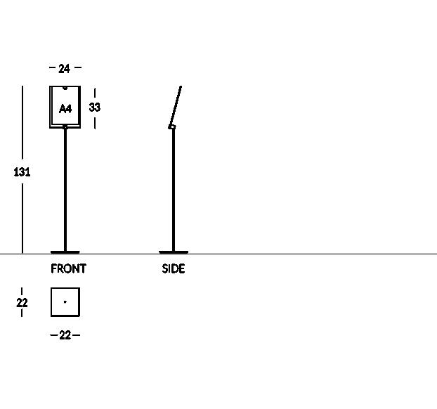 Piantana porta depliant con tasca formato A4 verticale.