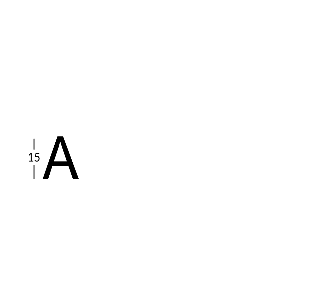 Carattere rit. h15cm/s2.5mm