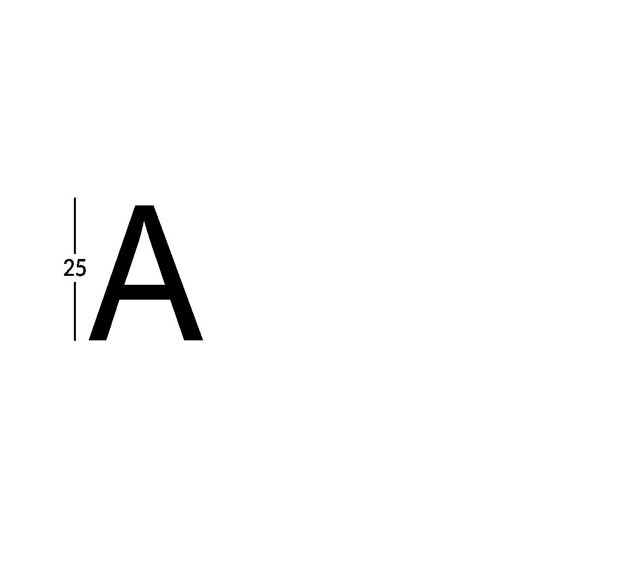 Carattere rit. h25cm/s2.5mm