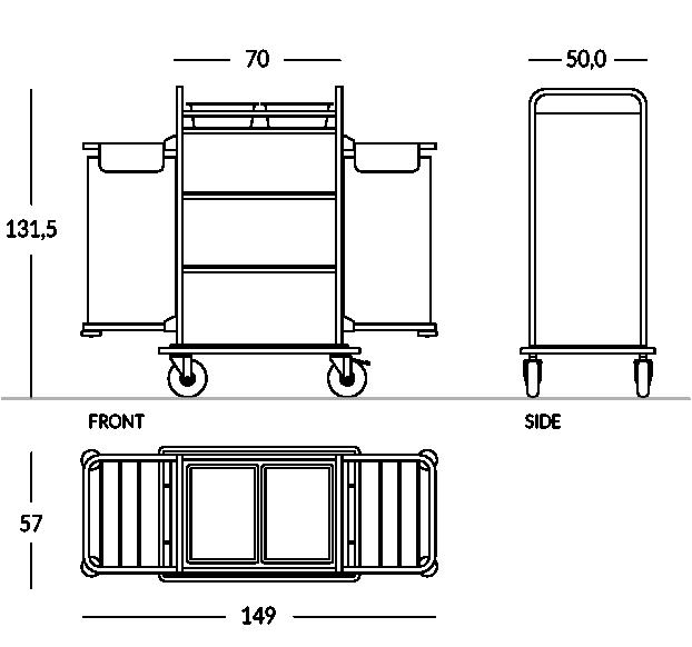 Carrello portabiancheria, versione aperta con doppio sacco